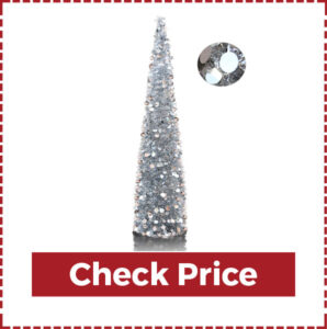 Artificial Silver Christmas Tree in Collapsible Pencil